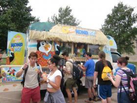 UMKC students enjoy snow cones at LGBTQIA ice cream social.