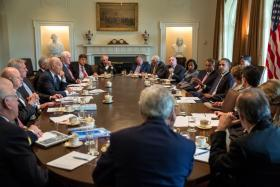 President Barack Obama meets with Members of Congress to discuss Syria in the Cabinet Room of the White House, Sept. 3, 2013.