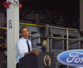 President Barack Obama at Ford's new plant at Liberty, MO.