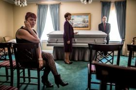 The site is funereal but not the play: (left to right) Katie Gilchrist, Jeanne Averill, and David Fritts in Kansas City Actors Theatre's 'Three Viewings' at Muehlebach's Funeral Home.