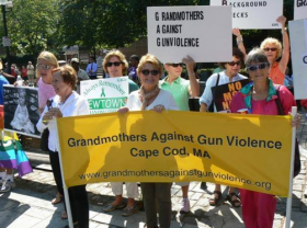 The Cape Cod Grandmothers Against Gun Violence rally in Boston.
