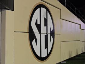 The Southeastern Conference logo at Vanderbilt Stadium in Nashville, Tenn.