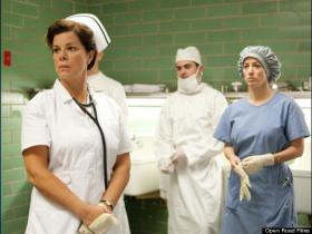 Marcia Gay Harden and Zac Efron play a nurse and doctor attending to President Kennedy in 'Parkland.'