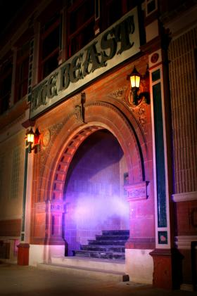 The entrance to one of the original West Bottoms haunted house, The Beast.