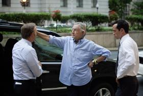 Kevin Spacey, director Joel Schumacher and actor Nathan Darrow on the set of Netflix's 'House of Cards.'