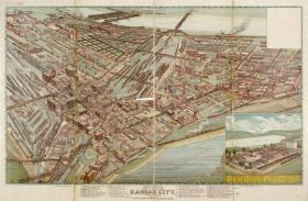 A panoramic view of the West Bottoms showing stock yards, packing and wholesale houses.