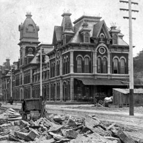 The Union Depot was Kansas City's original train station, located in the West Bottoms. The building was torn down in 1915.