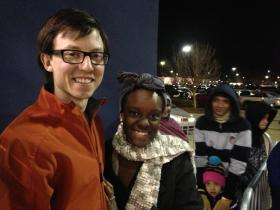 Ryan and Terissa Chavers didn't mind waiting last night for a deal on flat screen TV