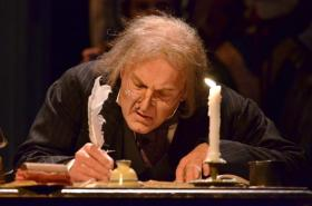 Gary Neal Johnson returns in his iconic role as Scrooge in the Kansas City Repertory's 'A Christmas Carol.'