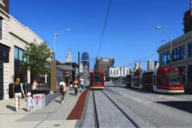 Construction begins this summer on the streetcar starter line in downtown Kansas City, Mo., shown here in this mock-up.