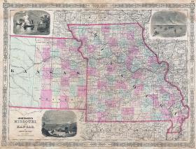 A 1864 map of Kansas and Missouri.