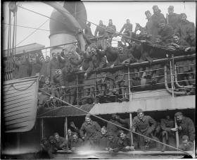 Off to the world's war aboard troopship, Boston Harbor, 1918-1919.