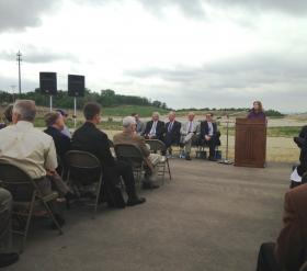 Senator Lynn Jenkins speaks in support of NBAF at groundbreaking ceremonies earlier this year