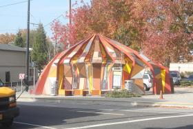 This streetcar stop in Portland, Ore. features public art.