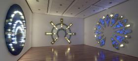 Installation view of Mortimer's halos at the Nerman Museum of Contemporary Art, Overland Park, Kan.