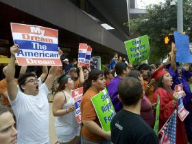 DREAM Act Protesters during President Obama's Visit to Austin on May 10, 2011