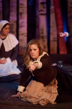 (Left to right): Emily Shackelford (as Ann Putnam) & Nicole Greenberg (as Abigail Williams) in 'Afflicted.'