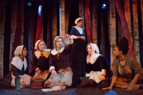(Left to right): Emily Shackelford (as Ann Putnam), Emily Nan Phillips (Mercy Lewis), Nicole Greenberg (as Abigail Williams), Jessica Jensen (as Mary Warren), Hannah Thompson (as Betty Parris) & Alisha Espinosa (as Tituba) in 'Afflicted.'