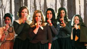 Alisha Espinosa (as Tituba), Emily Phillips (Mercy Lewis), Nicole Greenberg (as Abigail Williams), Emily Shackelford (as Ann Putnam), Jessica Jensen (as Mary Warren) & Hannah Thompson (as Betty Parris) in 'Afflicted.'
