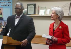 Sly James, mayor of Kansas City, Mo., introduces Health and Human Services Secretary Kathleen Sebelius.