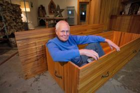 Dr. Jeff Piehler of Prairie Village reacted to his stage-four prostate cancer diagnosis by building his own coffin.