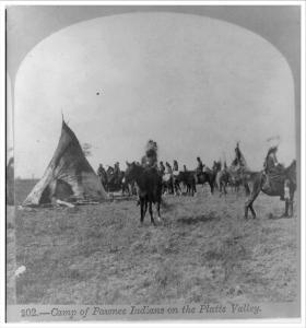 Camp of Pawnee Indians on the Platte Valley c. 1866