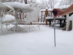 Around 5 inches of snow had accumulated in south Kansas City by 2 p.m. Tuesday.