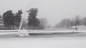 A still from filmmaker Lasaro Abalos' snow video shows a Kansas City fountain during Tuesday's snow storm.