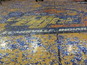 Confetti covered the floor in Evansville, Ind., after Central Missouri one the title in the last second of the championship game.