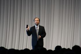 Sprint Corp. chairman, Masayoshi Son, speaks at a SoftBank summit in 2008.