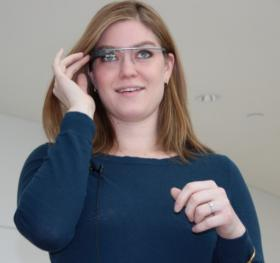 Kansas City Symphony's Elizabeth Gray, trying on Google Glass for the first time.