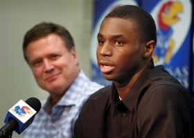 KU men's basketball coach Bill Self and Andrew Wiggins at the Monday press conference.