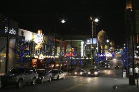 The periphery of the Power & Light District in downtown Kansas City, Mo.