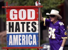 Fred Phelps at a demonstration in an undated file photo.
