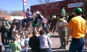 Bystanders watch a horse go by at the St. Patrick's Day parade in Brookside.