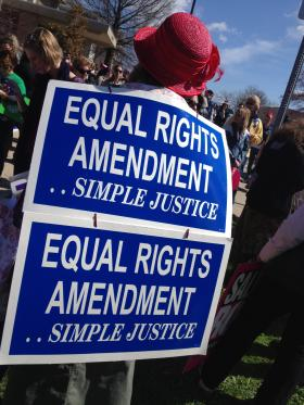 One of the people who marched in the Equal Rights Action Day at the Missouri Capitol in Jefferson City on Tuesday