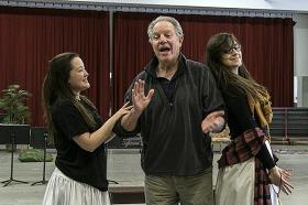 Soprano Anna Christy, as Adele, (from left) Baritone John Stephens as Frank, and Lyric Opera apprentice mezzo-soprano Samantha Gossard, rehearse for 'Die Fledermaus.'