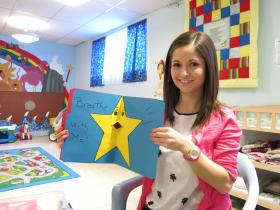 Therapist Brittany Cohoon helps stressed children relax using the breathing star.