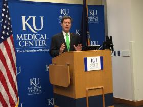 In Kansas City, Kan., Governor Brownback announces bond funding for new KU Med building.