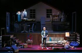 A scene from the end of Act One in 'A Little More Alive' at the Kansas City Repertory Theatre.
