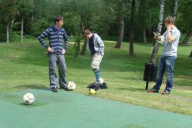 FootGolf combines soccer with golf and is played on a traditional golf course.