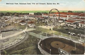 This archival postcard shows an aerial view of Fairyland Park, which opened in 1923.