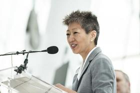 Jane Chu, president and CEO of the Kauffman Center, speaks during a May 12 announcement about the University of Missouri-Kansas City Conservatory of Music and Dance.