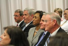 Pictured at the news conference announcing the $25 million gift are, from right (closest) to left, Bill Hall, president of the Hall Family Foundation; Kurt Watson, co-chair of KU's Far Above fundraising campaign; Bernadette Gray-Little, KU chancellor; Fred Logan, chairman of the Kansas Board of Regents; Doug Girod, KU vice chancellor.
