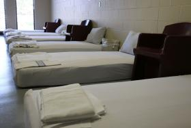 Mattresses line the walls of the sobering unit in the newly reopened Rainbow Mental Health Facility in Kansas City, Kan.