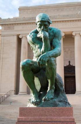 """Auguste Rodin, French, 1840-1917. The Thinker, 1880; probably cast ca. 1949. In the novel, Lily walks to the museum after a tough day at school. """"I guess The Thinker is like me today - lots of problems and no answers,"""" she says."""