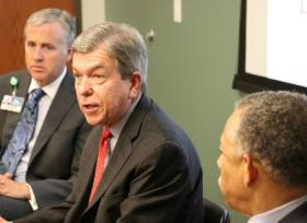 U.S. Sen. Roy Blunt (center), R-MO, spoke at a roundtable discussion at Truman Medical Centers' Behavioral Health Services. Joining Blunt at the head table were Charlie Shields (left), chief operating officer of Truman's Lakewood facility, and John Bluford, president and CEO of the Truman system.