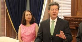 Kansas Gov. Sam Brownback speaks Thursday at the official launch of his campaign for a second term during an event at the Statehouse in Topeka.