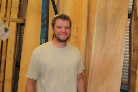 Tim O'Neill in the showroom at Urban Lumber in Kansas City, Mo.