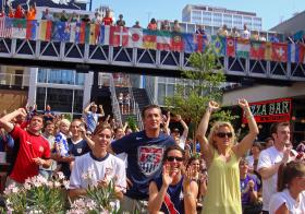 An estimated 12,000 people gathered in Kansas City's Power and Light district to watch the United States take on Ghana in the 2010 World Cup.